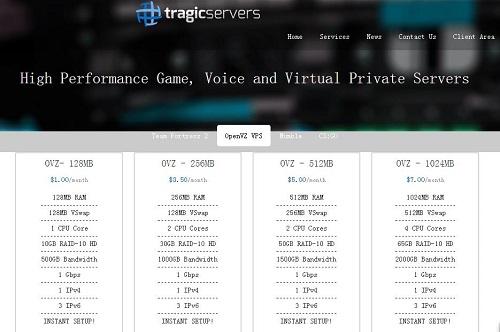 Tragicservers - OpenVZ 128MB/10GB/500GB 洛杉矶&达拉斯 $5.9/年-VPS推荐网