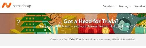 Namecheap域名圣诞活动-抢答获得免费域名及MacBook、iPads奖品-VPS推荐网