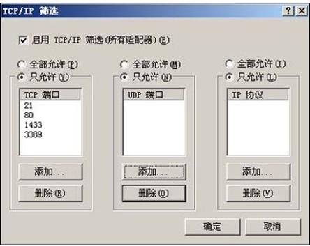 服务器安全配置之Windows2003系统关闭不需要的端口