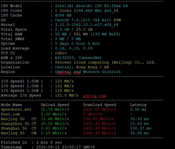 腾讯云香港轻量云服务器2020年9月晚高峰期简单体验测试-VPS推荐网